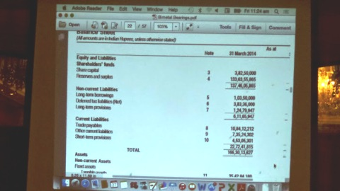 Mr. Gupta giving live example of the Balance Sheet of an well Known Company