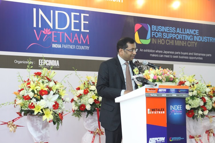 Mr Anupam Shah, Chairman, EEPC India delivering his speech at the Metalex inauguration
