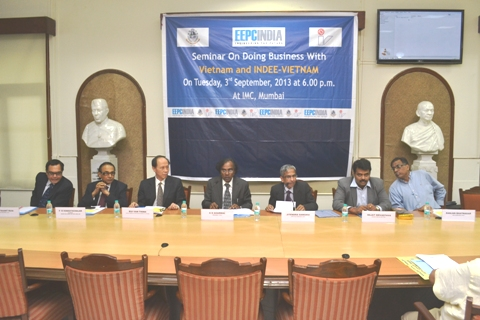 Left to Right : Mr. A. Ruia, Vice-President, IVCCI, Mr. P. R. Venkatachalam, Chairman, Award Sub-Committee, EEPC India, WR, Mr. Bui Van Thinh, Consul General of The Socialist Republic of Vietnam, Mr. G. D. Agarwal, President, IVCCI, Mr. J. Sanghvi, Dy. Director-General, Indian Merchants' Chamber, Mr. R. Srivastava, Regional Director, EEPC India, WR and Mr. R. Bhatnagar, Hony. Secretary, IVCCI