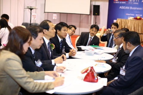 A meeting in progress during Asean Business Matchmaking