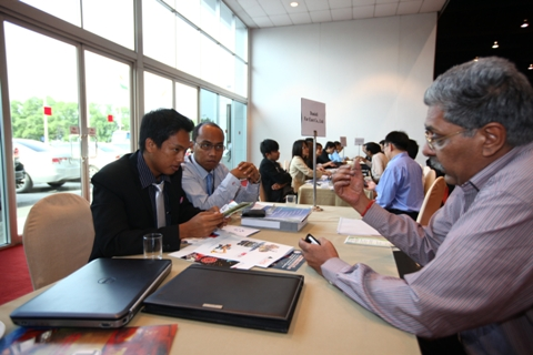 B2B Meeting in progress during the four day engineering exhibition
