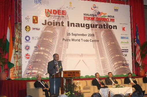 HE Mr. Ashok K. Kantha, Indian High Commissioner to Malaysia addressing the gathering during the inaugural function of INDEE - 2008, Kuala Lumpur.