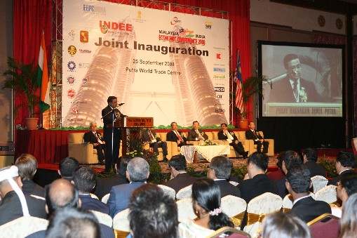 Mr. Rakesh Shah, Chairman, EEPC India delivering his welcome address on the occasion of inauguration of INDEE - 2008, Kuala Lumpur.