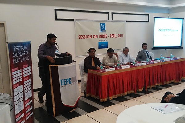 Mr. J V Raja Gopal Rao, Deputy Director, EEPC INDIA, welcoming the dignitaries on the Dias