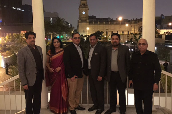 <b>Team INDEE at Lima, Peru on the eve of the maiden Indian engineering exhibition in Peru</b><br> <i>From right to left : 1) Mr. Ajay Shinde, HOC, Embassy of India, Peru, 2) Mr. B. Sarkar, Executive Director & Secretary, EEPC INDIA, 3) Mr. Anupam Shah, Chairman, EEPC INDIA, 4) H.E. Mr. Sandeep Chakravorty, Ambassador of India to Peru, 5) Mrs. Chakravorty, 6) Mr. Pankaj Chadha, Regional Chairman (W.R.), EEPC INDIA</i>
