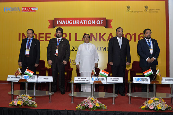 DIGNITARIES ON THE DIAS (L-R) MR. P. R. VENKATACHALAM, CHAIRMAN, COMMITTEE ON TRADE WITH SAARC COUNTRIES; MR. T. S. BHASIN, CHAIRMAN, EEPC INDIA; MR. NIMAL SIRIPALA DE SILVA, HONOURABLE MINISTER OF TRANSPORT & CIVIL AVIATION, SRI LANKA; MR. Y. K SINHA, HONOURABLE INDIAN HIGH COMMISSIONER TO SRI LANKA; MR. BHASKAR SARKAR, EXECUTIVE DIRECTOR & SECRETARY, EEPC INDIA HONOURING THE NATIONAL ANTHEMS OF SRI LANKA & INDIA