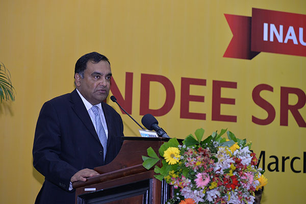 MR. Y. K SINHA, INDIAN HIGH COMMISSIONER TO SRI LANKA DELIVERING HIS SPEECH BEFORE THE GATHERING