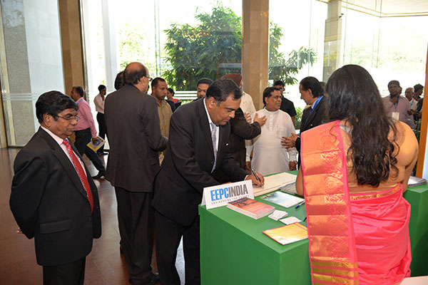 MR. Y. K SINHA, INDIAN HIGH COMMISSIONER TO SRI LANKA EXPRESSING HIS COMMENTS ON OUR VISITOR BOOK AT EEPC INDIA`S THEME PAVILION