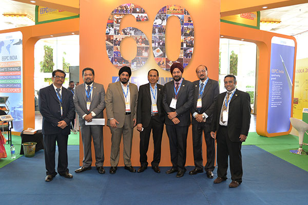 TEAM EEPC INDIA INDIA (L – R) – MR. C. H. NADIGER, REGIONAL DIRECTOR;  MR. BHASKAR SARKAR, EXECUTIVE DIRECTOR & SECRETARY, MR. T. S. BHASIN, CHAIRMAN; MR. P. R. VENKATACHALAM, CHAIRMAN, COMMITTEE ON TRADE WITH SAARC COUNTRIES; MR. GURVINDER SINGH, SR. JOINT DIRECTOR; MR. D. J. MOULICK, ASSISTANT DIRECTOR; MR. MUKESH SAMTANI, EXECUTIVE OFFICER
