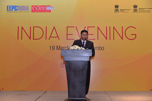 Mr. Arindam Bagchi, Deputy High Commissioner of India to Sri lanka addressing the gathering at the India Evening