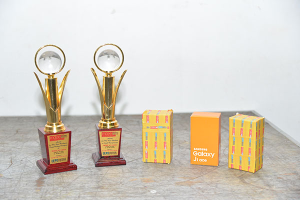 Trophies of best pavilion awards and gifts for lucky draw winners