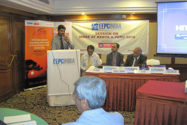 Shri. J V Raja Gopal Rao, Deputy Director, EEPC INDIA addressing the gathering