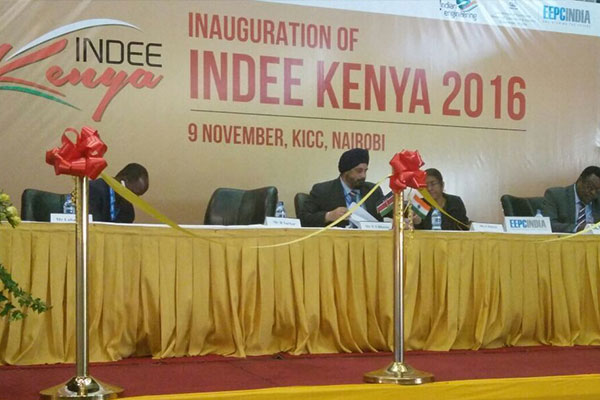 On the Dais – L TO R : Mr T S Bhasin, Chairman, EEPC India; H E Suchitra Durai, High Commissioner of India to Kenya and  Mr Solomon Boit, Director, Export Promotion Council of Kenya