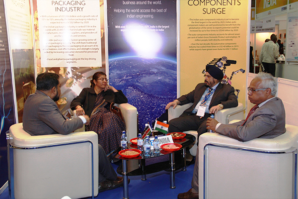 L TO R : inside EEPC India Theme Pavilion - Mr. Bhaskar Sarkar, Executive Director & Secretary, EEPC INDIA; H.E. Ms. Suchitra Durai, High Commissioner of India to Kenya and Permanent Representative to UNEP & UN-HABITAT; Mr. T S Bhasin, Chairman, EEPC INDIA and Mr. Chandra Mouli, First Secretary and Head of Chancery , High Commission of India in Kenya