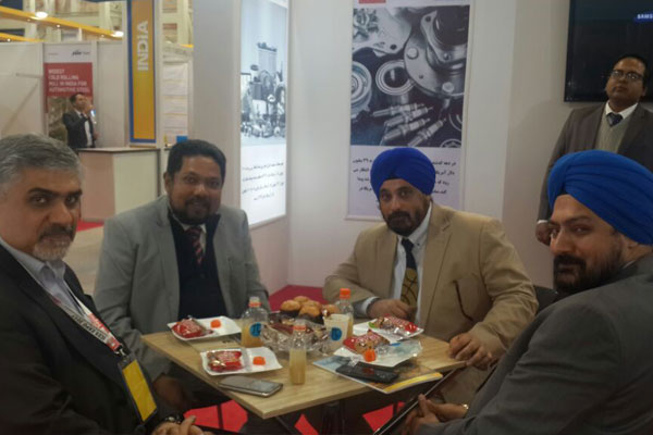 Mr T.S.Bhasin Chairman , EEPC India inside EEPC India booth at the fairground. On his  right is Mr Bhaskar Sarkar, Executive Director & Secretary, EEPC India and Mr Gurvinder Singh, Sr Joint Director is on his left. Mr Bratin Bhattacharya, Joint Director, EEPC India is standing behind.