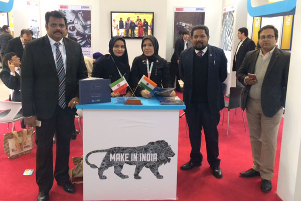 EEPC Secretariat inside EEPC India booth with Iranian Hostesses at the event . We see L TO R: Mr Rajat Srivastava, Regional Director (WR), EEPC India; Mr Bhaskar Sarkar, Executive Director & Secretary, EEPC India and Mr Bratin Bhattacharya, Joint Director, EEPC India