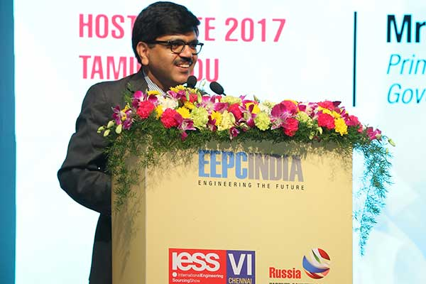 Mr. Mangat Ram Sharma, Principal Secretary MSME, Government of Tamil Nadu (Host State) is delivering his speech during the inauguration of International Engineering Sourcing Show (IESS) VI