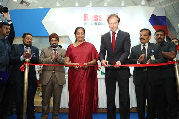 Ribbon Cutting and Opening of Russia Partner Country Pavilion during the Inauguration of International Engineering Sourcing Show (IESS) VI. (Left to right : Mr. B. Sarkar, Executive Director and Secretary, EEPC India, Mr. T. S. Bhasin, Chairman, EEPC India, Ms. Nirmala Sitharaman, Minister of State (Independent Charge) for Commerce & Industry, Govt. of India, Mr. Denis Manturov, Minister of Industry and Trade of the Russian Federation and Mr. Girish Shankar, Secretary, Department of Heavy Industry, Govt. of India
