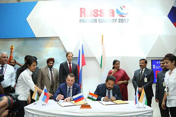Signing of MOU between Moscow Region Russia & EEPC INDIA at Russia Partner Country Pavilion at IESS - VI