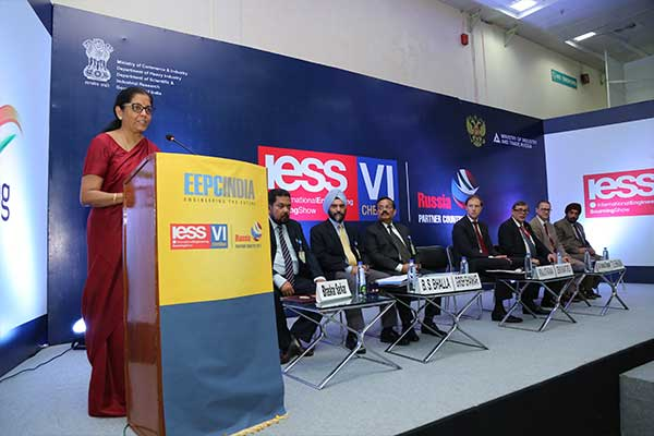 Ms. Nirmala Sitharaman, Minister of State (Independent Charge) for Commerce & Industry, Govt. of India is delivering her speech in Press Conference during the inauguration of International Engineering Sourcing Show (IESS) VI