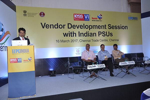 Mr. Pankaj Chadha, Vice Chairman, EEPC India giving his speech at the Conference on Vendor Development Session with Indian PSUs on 16th March, 2017 at IESS VI, Chennai
