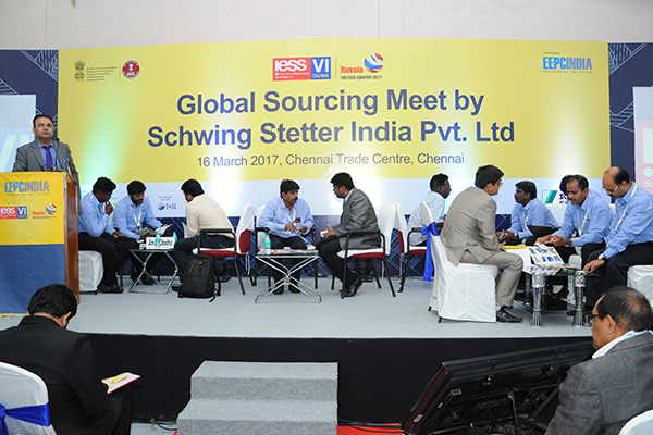 Mr. Rakesh Suraj, Regional Director (Northern Region), EEPC India addressing at the Conference on Global Sourcing Meet by Schwing Stetter India Pvt. Ltd. on 16th March, 2017 at IESS VI, Chennai