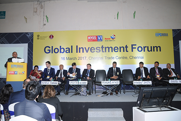 Mr. R. P. Jhalani, Past Chairman, EEPC India addressing at the Conference on Global Investment Forum on 16th March, 2017 at IESS VI, Chennai