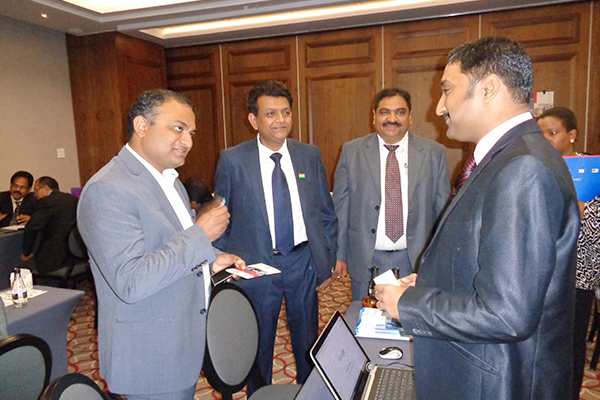 Dr K J Srinivasa, Consul General, Consulate General of India, Johannesburg, interacting with the members. On his left Mr Milind R. Patil, Leader of the Indian Delegation and Mr Rakesh Dua, Vice Consul (Commercial), Consulate General of India, Johannesburg.