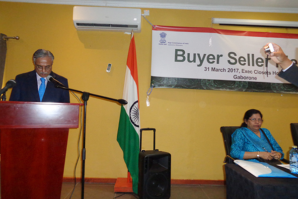 Dr Ketan Sukla, High Commissioner, High Commission of India, Gaborone, Botswana, welcoming the participants