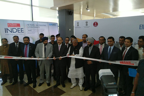 Inauguration of INDEE Bangladesh 2017 through Ribbon Cutting – ( L TO R) : Mr Bhaskar Sarkar, Executive Director & Secretary, EEPC India; Mr T S Bhasin, Chairman, EEPC India; Mr Harsh Vardhan Shringla, Indian High Commissioner to Bangladesh ; Mr Alhaz Amir Hossain Amu, Hon'ble Minister of Industries, Government of Bangladesh; Mr B S Bhalla, Joint Secretary, Department of Commerce , Ministry  of Commerce & Industry, Government of India; Sheikh Fazle Fahim, First Vice President, FBCCI ( The Federation of Bangladesh Chambers of Commerce and Industry) ; Mr Taskeen Ahmed, President, IBCCI ( India Bangladesh Chamber of Commerce and Industry) .  Mr P R Venkatachalam, Chairman of the Committee on Trade with SAARC, EEPC India ( behind Mr Shringla)  and we see Mr Arun Kumar Garodia, Regional Chairman, ER, EEPC India (behind Mr Shringla)