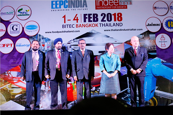 TIF is inaugurated (from left onwards ) - Mr Bhaskar Sarkar, Executive Director & Secretary, EEPC India; Mr T S Bhasin, Immediate Past Chairman, EEPC India; Mr Abbagani Ramu, Deputy Chief of Mission, Embassy of India, Bangkok &  Deputy PR to UNESCAP; Ms. Nisakorn Jungjaroentham, Deputy Permanent Secretary, Ministry of Industry, Government of Thailand  and Mr. DamriNamphaya, Managing Director of T.B.P. Publication Co., Ltd ( organizer of TIF)