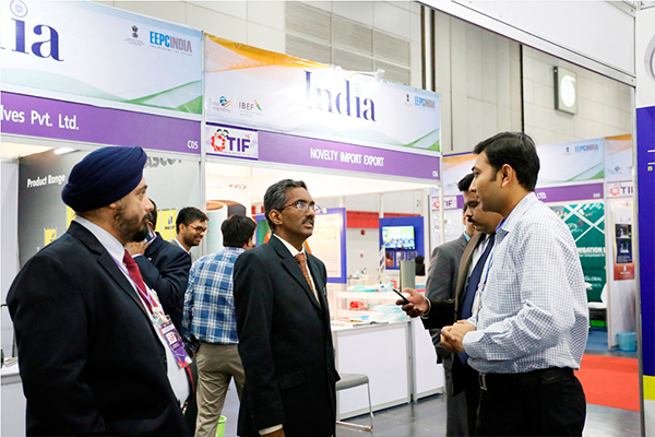 Mr Abbagani Ramu, Deputy Chief of Mission, Embassy of India, Bangkok & Deputy PR to UNESCAP taking a tour of stalls at INDEE (India Pavilion of TIF)