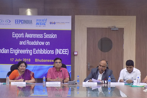 Mr Pawan Sureka, Chairman, Functional Committee on Export Awareness (ER), EEPC India giving welcome address. On his right Mr L N Gupta, Additional Chief Secretary, MSME Department, Government of Odisha; Mrs Anima Pandey, Regional Director (ER) & Director (Membership), EEPC India; Mr Sukhbir Singh Badhal, Deputy DGFT, Cuttack and on his left Mr Sanjaya Kumar Behera, Manager, ECGC Ltd, Bhubaneswar; Ms NImeshika Natarajan, Assistant Director, WTC, Bhubaneswar; Mr S K Jena, Director of Export Promotion & Marketing  (DEPM), Odisha.