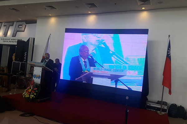 Mr Mahesh K Desai. Sr Vice Chairman, EEPC India addressing at the World Trade Centre where INDEE is being held along with IMTP 2018 ( International Metalworking Philippines)