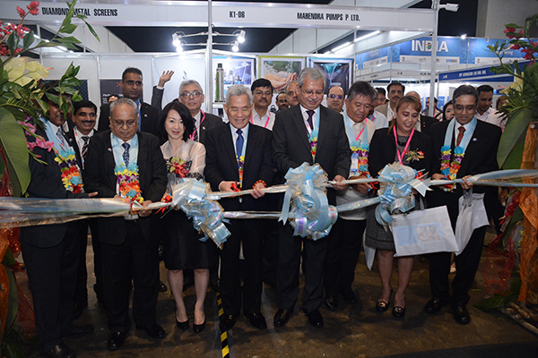Ribbon Cutting ceremony during inauguration of INDEE Philippines. From left we see - Mr Mahesh K Desai, Sr Vice Chairman, EEPC India; Ms Sandra Tsang; Mr Micheal P Y HUS Taipei Economic and cultural office in Philippines; Mr Jaideep Mazumdar, Ambassador of India to Philippines; Mr Hector U Villanueva Jr President the Die and mild association of Phillipines; Ms Evaraste Cagayan, Director for Marketing Industry Services Board of Investment Philippines and Mr Arun Kumar Garodia, Vice Chairman, EEPC India