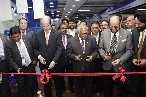 Inauguration of INDEE Colombia by H.E. Mr Ravi Bangur, Indian Ambassador to Colombia and Ecuador. Mr Ravi Sehgal, Chairman, EEPC India; Mr Aman Chadha, Former Chairman and Chairman of the LATAM Committee, EEPC India and Executive Director, Mr Suranjan Gupta present
