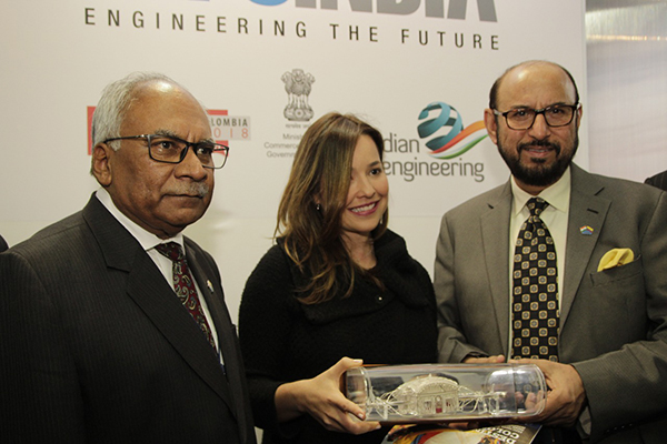 Mr Ravi Sehgal, Chairman , EEPC India  presenting memento to Vice Minister of Colombia in presence of Mr Ravi Bangar, Indian Ambassador to Colombia and Ecuador