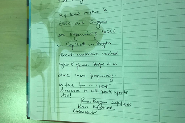 Mr Ravi Bangar, Indian Ambassador to Colombia and Ecuador`s comments on the visitor`s book in EEPC India booth
