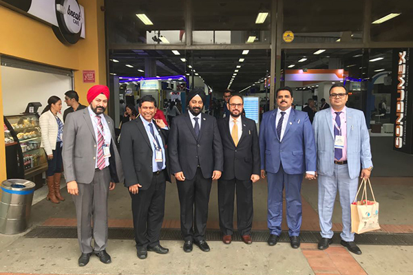 EEPC India team in front of the Venue for Networking Dinner from L - Mr Gurvinder Singh, Director (Exhibitions) EEPC India; Mr Suranjan Gupta, Executive Director, EEPC India; Mr Aman Chadha, Chairman of the Committee on LATAM, EEPC India, Mr Ravi Sehgal, Chairman, EEPC India; Mr Rajat Srivastava, Regional Director (WR) & Director (Marketing & Sales), EEPC India; Mr Rakesh Suraj, Regional Director (NR), EEPC India