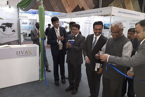 India Pavilion being inaugarated by Mr Rajesh Swami, Dy High Commissioner, Indian High Commission, Nairobi, Kenya (third from left)  From Left to Right: Mr. Joy Chatterjee, Sr Executive Officer,EEPC India; Mr. Paresh Jhurmarwala, GPE Expo Pvt. Ltd.; Mr. R Chandramouli, First Secretary & Head of Chancery & Mr. Mayank Krishna, Assistant Director, EEPC India.