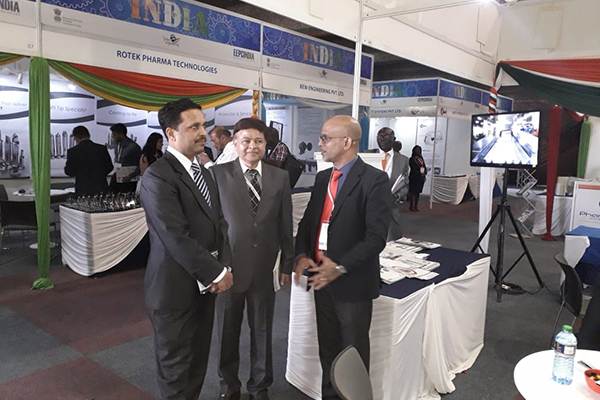 Mr Rajesh Swami,   Dy High Commissioner,Indian High Commission in Nairobi, Kenya,  taking a tour of  the India Pavilion; with one of the Indian Exhibitors