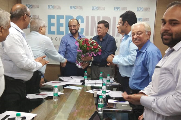 Mr. J. K. Babla shaking hand with Mr. Ravi Sehgal, Chairman, EEPC India