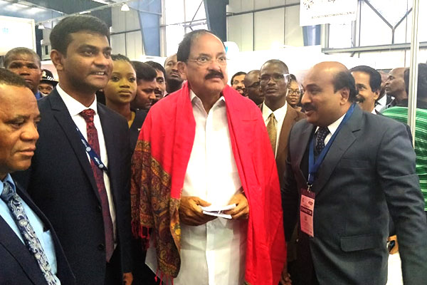 Hon`ble Vice President of India, Mr. Muppavarapu Venkaiah Naidu visiting the stalls in India Pavilion. Mr  V C Ravish, Sr Executive Officer, EEPC India, Hyderabad is seen next to him
