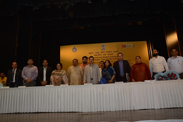 EEPC India NR office in Delhi  joined  the MSME Support and Outreach Programme in Gurugram, in presence of  Rao Narvir Singh, PWD Minister, Govt of Haryana as the Chief Guest (at the centre) and (To his left) Ms Rajni Sikri, Additional Secretary, Ministry of Home Affairs. Mr Rakesh Suraj, Regional Director, (NR), EEPC India (next to Ms Sikri)