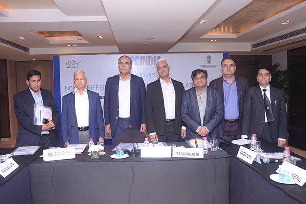 From left - Mr Suranjan Gupta, Executive Director, EEPC India, Mr Rajeev Kher, Former Commerce Secretary, Depart of Commerce, Govt of India; Dr Harsha Vardhan Singh, DG, WTO; Dr Viswanathan, Consultant, WTO; Mr Sanjay Beswal, Regional Committee Member (NR), EEPC India, Mr Rakesh Suraj, Regional Director  (NR), EEPC India   and Mr Rajesh Khandelwal