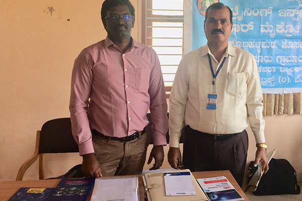 Mr. D Karthikeyan,  Assistant Head - EEPC India Technology Centre, Bengaluru at EEPC India Desk (left) with Mr. Yeshwanth, LDM Hoskote cluster on the right