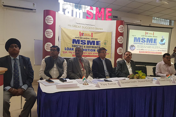 EEPC India Executive Director Mr Suranjan Gupta sharing the dais with Joint Secretary, Department of Commerce, Union Ministry of Commerce and Industry, Govt. of India Mr Shyamal Mishra at an MSME Outreach programme organised by Syndicate Bank in Faridabad