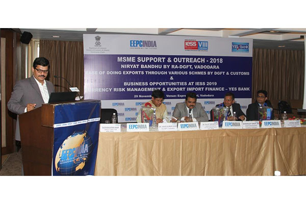 Mr S Nair, Deputy Director, EEPC India, Sub-Regional Office, Ahmedabad welcoming the guests