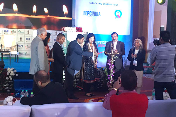 Mr Suranjan Gupta, Executive Director, EEPC India joins the lamp lighting ceremony at the inauguration