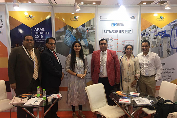 Ms Palak Singh, Sr Executive Officer, EEPC India, New Delhi with visitors inside EEPC India booth at the event